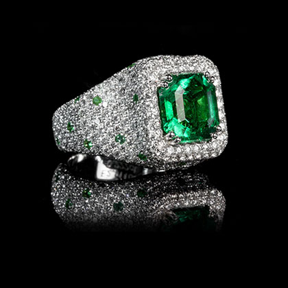 1/4 CT. Green & White Diamond Ring in Sterling Silver